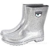 Chiara Ferragni Rainboot 眨眼圖騰低筒雨靴(亮片銀) 1840119-30