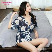 家居服夏季薄款大碼透明日式睡衣性感睡袍女浴袍情趣和服 完美情人精品館