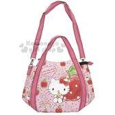 〔小禮堂〕Hello Kitty 兩用帆布托特包《M.粉.蘋果.坐姿》手提包.側背包 4582135-13028