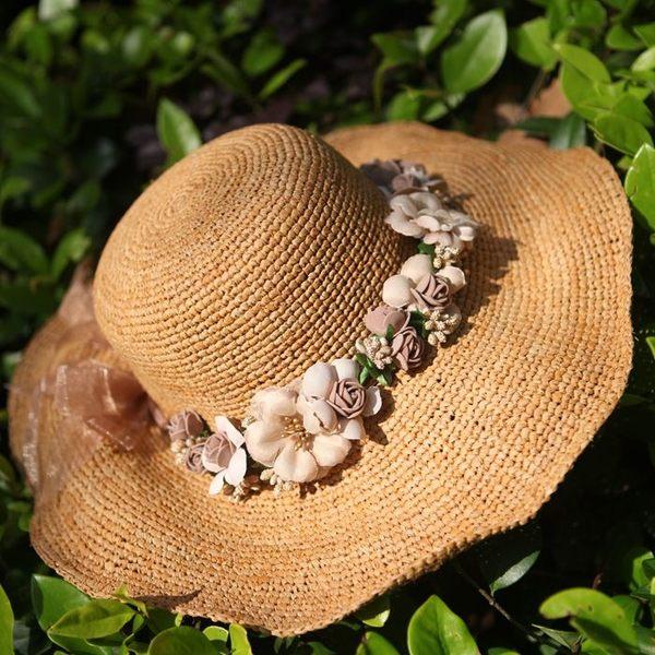 拉菲草帽子纯手工勾针海边大沿帽夏天防晒遮阳帽女草帽可折   -396400127