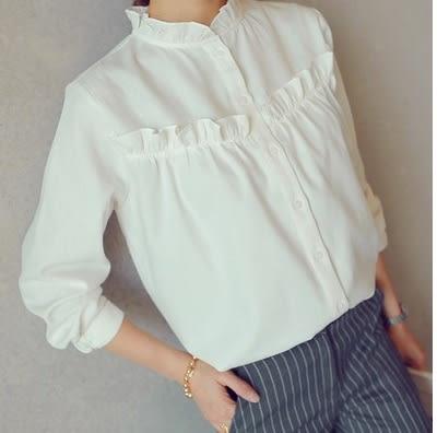【AU14】春秋韓版修身白色純棉荷葉花邊小立領襯衫長袖打底襯衣
