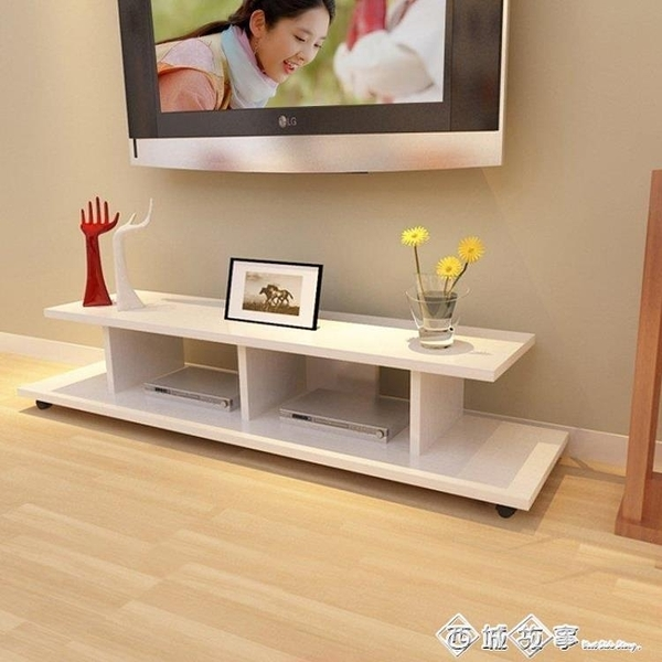 小戶型中式簡易電視櫃茶幾組合簡約現代視聽櫃臥室客廳移動電視櫃 璐璐