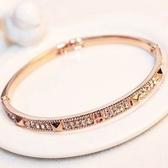玫瑰金純銀手鍊 鑲鑽-經典滿鑽生日情人節禮物女手環 73bx40【巴黎精品】