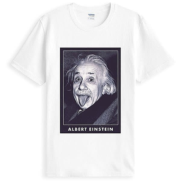 Albert Einstein愛因斯坦人物相片潮T短袖棉質T恤-白色 t-shirt 美國棉