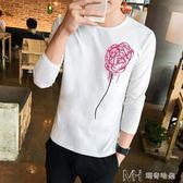 男士長袖  潮流長袖t恤男士韓版修身圓領學生個性印花體恤男青年打底衫  ciyo黛雅