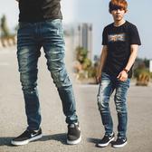 牛仔褲 韓國製復古刷色口袋皮革小直筒牛仔褲【NB0774J】