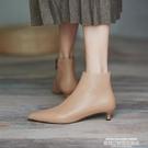 裸靴 短靴女春秋單靴低跟踝靴2021新款尖頭裸靴3cm小跟鞋細跟貓跟靴子 萊俐亞