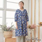 【Tiara Tiara】百貨同步 純棉前排扣後綁帶印花五分袖罩衫 (藍)