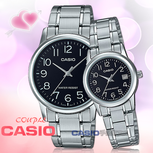 CASIO 卡西歐 手錶專賣店 MTP-V002D-1B+LTP-V002D-1B 指針對錶 不鏽鋼錶帶 黑 防水 日期顯示