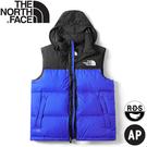 【The North Face 男 ICON經典配色鵝絨背心《黑/藍》】496T/羽絨背心/保暖背心