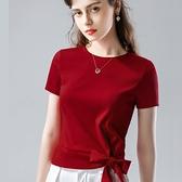 素色短袖T恤圓領棉蝴蝶結繫帶上衣(三色S-3XL可選)/設計家 AL30826