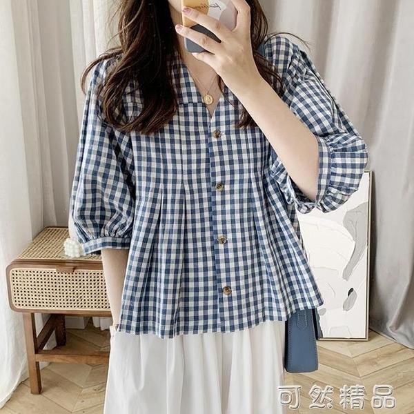 格子襯衫女設計感春新款韓版學生減齡泡泡袖V領娃娃衫上衣女 可然精品