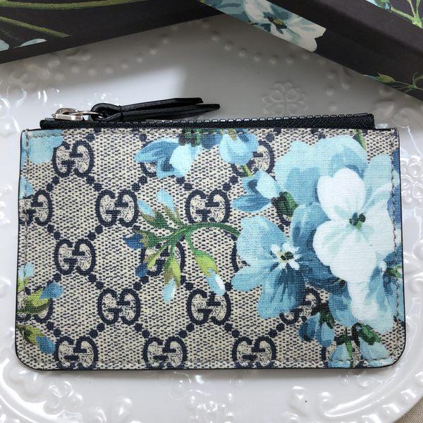 GUCCI 花鳥系列 PVC 雙G LOGO 拉鍊 鑰匙 零錢包 ( 藍色/黑色)~現貨特價