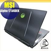 【Ezstick】MSI ALPHA 17 A4DEK Carbon黑色機身貼 (含上蓋貼、鍵盤週圍貼) DIY包膜