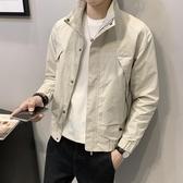 外套男春秋2020新款韓版潮流秋季男士立領夾克 修身短款休閒男上裝  降價兩天
