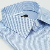 【金‧安德森】藍色格紋窄版短袖襯衫