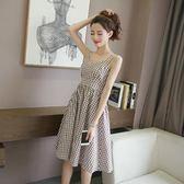 夏季新款韓版小清新V領格子背帶洋裝女中長款打底A字吊帶裙