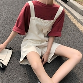 2021新款時尚韓版春季寬鬆可愛流行吊帶褲顯瘦寬管牛仔短褲女大碼 【3·8女王節】 【3·8女王節】
