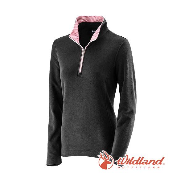 [Wildland] 荒野 (女) 彈性奈米銀PILE保暖上衣 黑 (0A22501-54)
