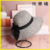 草帽女士天遮陽帽大碼沙灘帽可折疊大檐帽大頭圍蝴蝶結防曬帽子