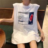字母印花背心韓版夏季寬鬆中長款無袖T恤女
