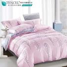 LUST生活寢具【奧地利天絲-昕悅-粉】100%天絲、雙人6尺床包/枕套/舖棉被套組  TENCEL 萊賽爾纖維