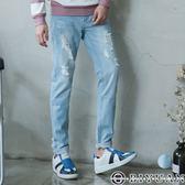 獨家丹寧褲【P2153】OBIYUAN 洗色刷破牛仔褲 共1色