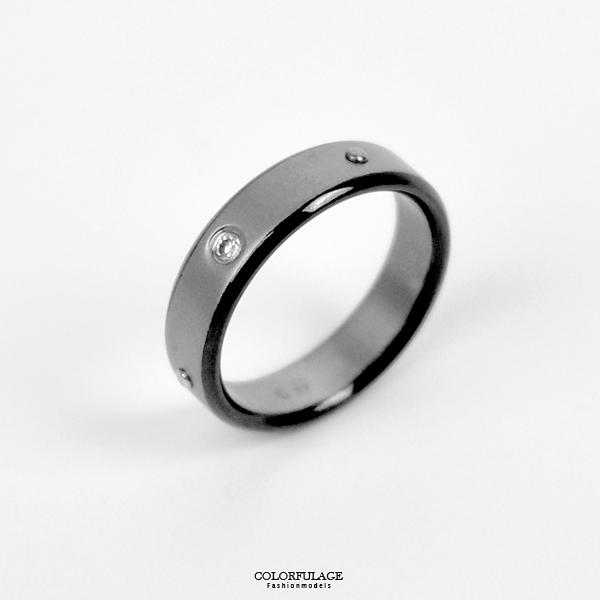 鋼戒 銀黑單鑽戒指 NC234