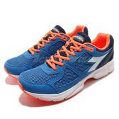 DIADORA 慢跑鞋 Shape 8 藍 橘 高透氣網布 吸震 EVA中底 基本款 運動鞋 男鞋【PUMP306】 DA172074C4415