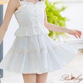 裙子 多片剪裁拼接蕾絲荷葉短裙-白色-Ruby s露比午茶