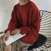 秋裝女裝韓版學院風寬鬆純色開叉套頭毛衣學生長袖針織衫上衣外套 莫妮卡小屋