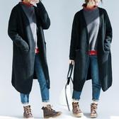黑色慵懶風中長款毛衣女秋冬 復古外搭保暖長袖V領針織毛線開衫 降價兩天
