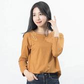 Victoria 刺繡領片落肩長袖T-芥黃-Y2505436