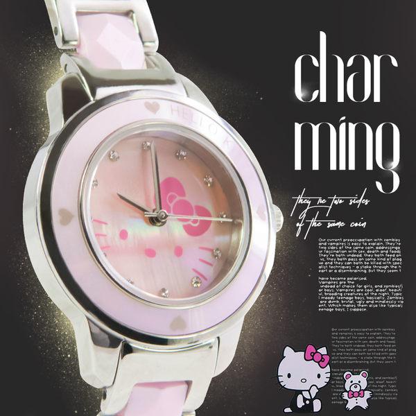 女錶 kitty晶鑽時刻 低調多彩貝殼 防水30米 陶瓷立體錶帶【贈原廠袋/卡】☆匠子工坊☆【UQ0121】