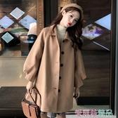 毛衣外套秋冬學生森系小個子翻領毛呢大衣女韓版寬鬆中長款bf外套交換禮物