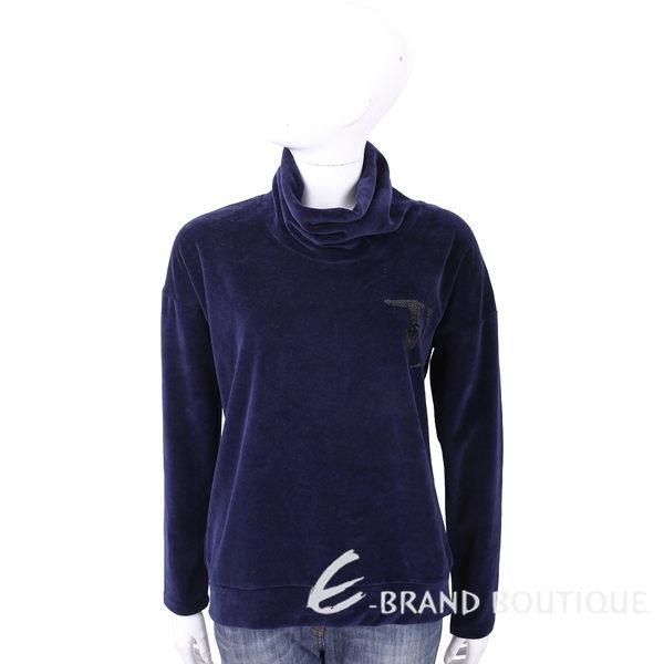 TRUSSARDI 深藍色亮片LOGO高領法蘭絨長袖上衣 1710586-34