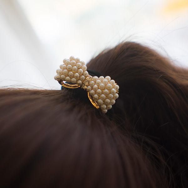 珍珠蝴蝶結造型髮圈(現貨/實拍)
