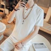 男裝亞麻料短袖男T恤中式圓領修身學生上衣服棉麻布青年打底衫春 美芭