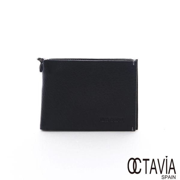 OCTAVIA 8 真皮 - 貼身簡單一 磁扣牛皮二折短夾 - 薄黑