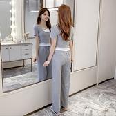 時尚套裝女夏季2021新款休閒運動寬管褲子 假兩件短袖t恤女兩件套 幸福第一站