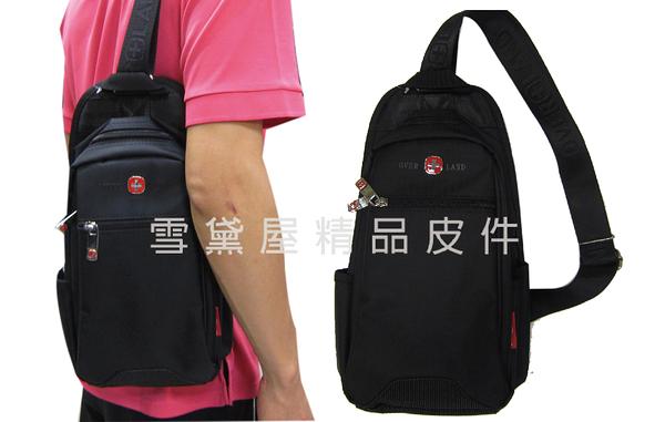 ~雪黛屋~OVER-LAND 單肩後背包小容量可單左肩單右肩防水尼龍布+皮革材質輕便隨身物品T3068
