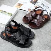 男鞋男士涼鞋沙灘鞋男式塑料涼拖鞋厚底露趾 錢夫人小鋪