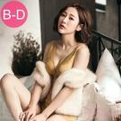 (B-D)低脊心雙色刺繡骨線蕾絲提托無鋼圈成套內衣_黃【Daima黛瑪】