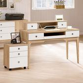 【森可家居】金美4尺電腦桌 (全組)  8ZX805-2 書桌 辦公桌 木紋質感 白色 無印風 北歐風