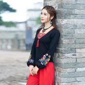 中國風大尺碼長版上衣 春秋新款原創設計 民族風繡花燈籠袖中國風復古長袖棉T恤