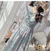 降價兩天 早秋裝2020年新款女長袖蕾絲洋裝 邊碎花雪紡連身裙 收腰顯瘦氣質長裙子