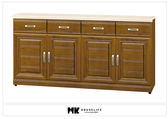 【MK億騰傢俱】BS316-03樟木色實木5.3尺碗盤餐櫃(含石面)