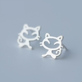925純銀耳環(耳針式)-創意貓咪情人節生日禮物女飾品73dr154【時尚巴黎】