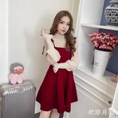 酒紅色長袖夜店洋裝 加大碼法式連身裙秋季新款2019兩件式套裝裙子中長款 DR31036【衣好月圓】