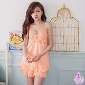 睡衣 性感睡衣 粉橘柔緞二件式情趣性感睡衣+睡褲【星光密碼】G035
